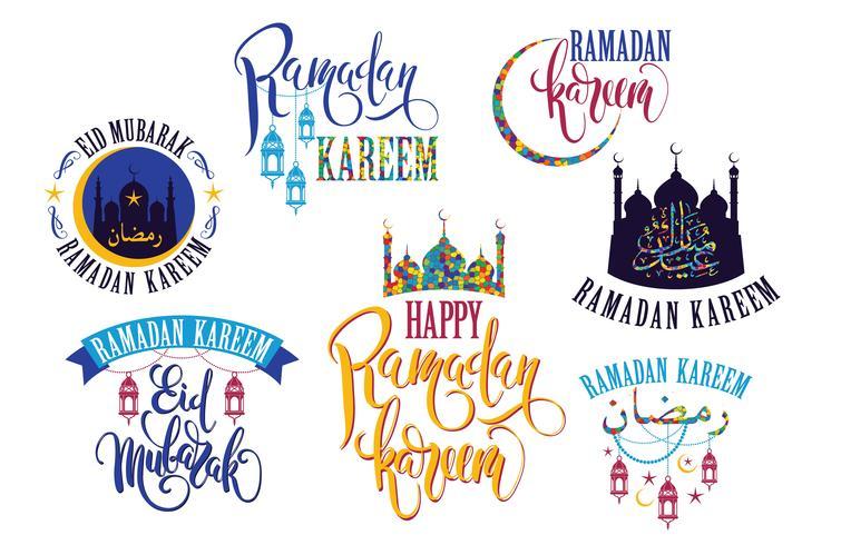 Ramadan Kareem. Conjunto de logotipos do Ramadã vetor