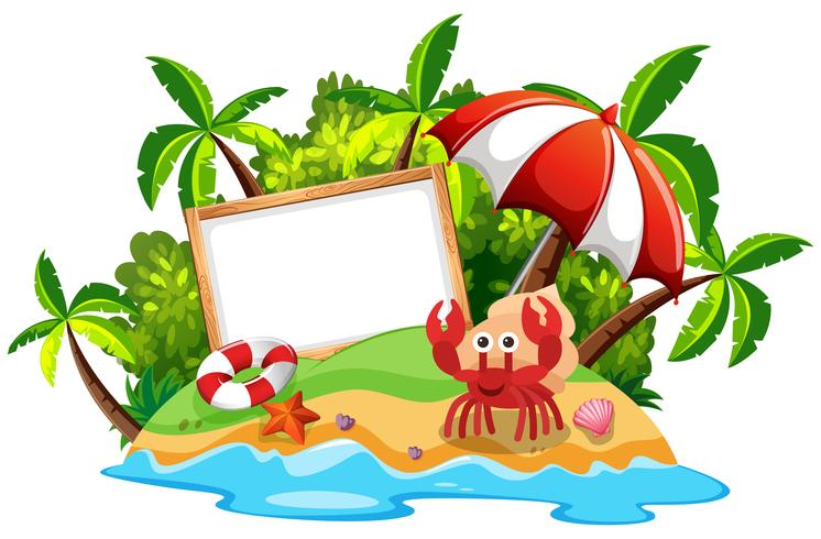 Whiteboard on island with hermit crab