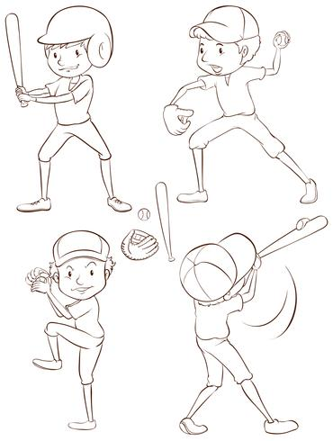 Jogadores de beisebol vetor