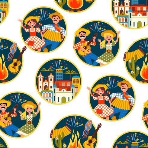 Fiesta latinoamericana, la fiesta de junio de Brasil. Patrón sin costuras