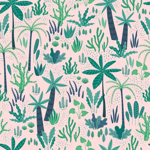 Padrão sem emenda com plantas tropicais abstratas. Desenho vetorial.