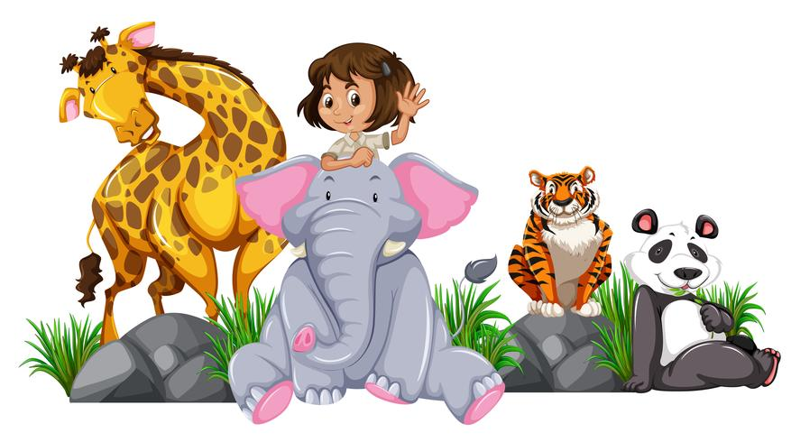 Safari girl with wild animals
