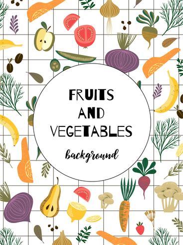Vector teplate com legumes e frutas. Conceito vegan.