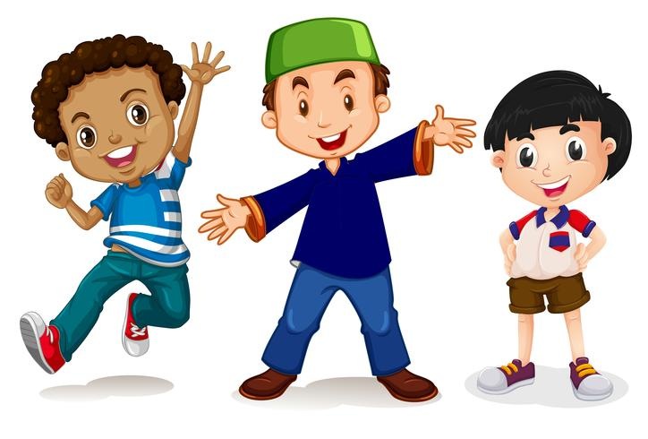 Multicultural kids on white background vector