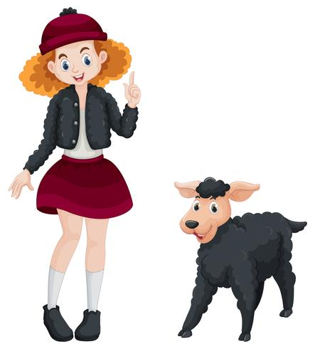 Little girl and black sheep