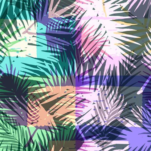 Sem costura padrão exótico com palmeira tropical na cor brilhante.
