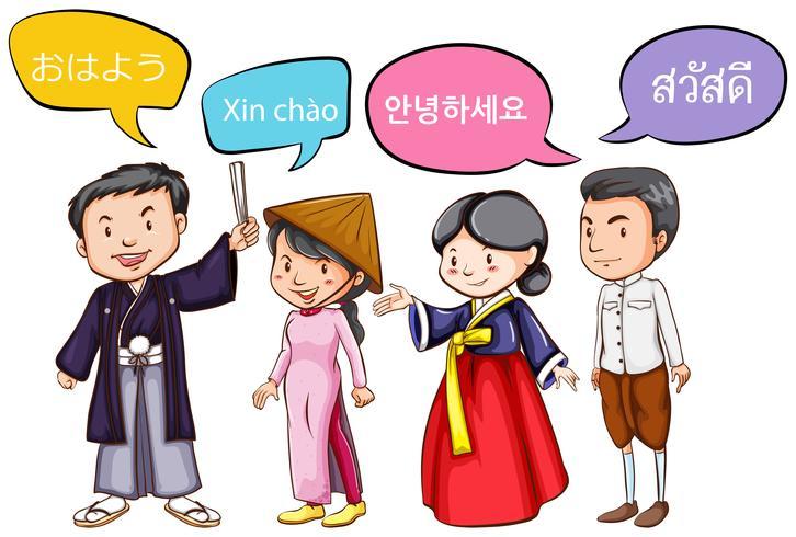 Vier Leute grüßen in verschiedenen Sprachen