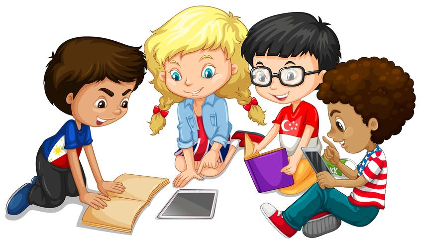 Grupo de crianças fazendo lição de casa