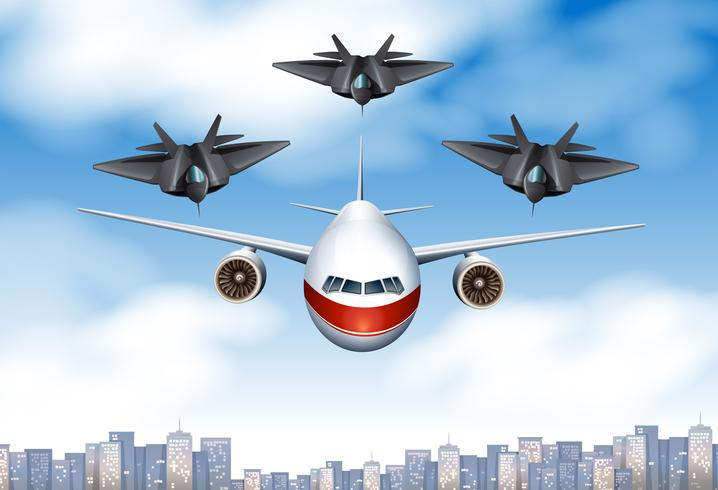One commercial airplane and three fighting planes in the sky