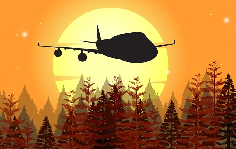 Background design with airplane flying at sunset
