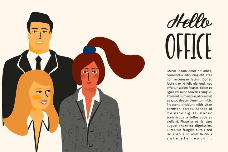 Olá escritório. Ilustração de Vectior com trabalhadores de escritório.