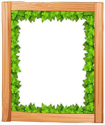 Um desenho de borda feito de madeira e folhas verdes