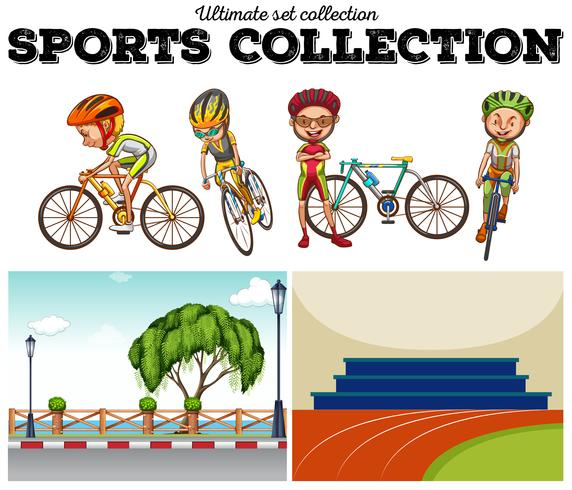 Bikers with bicycle and racing scenes
