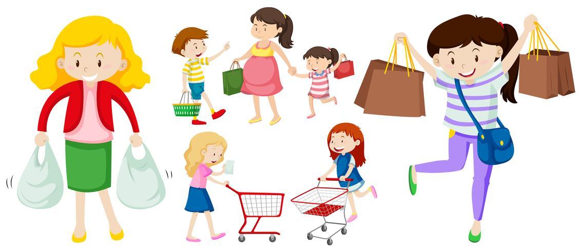 Personas con bolsas de compra y carrito.