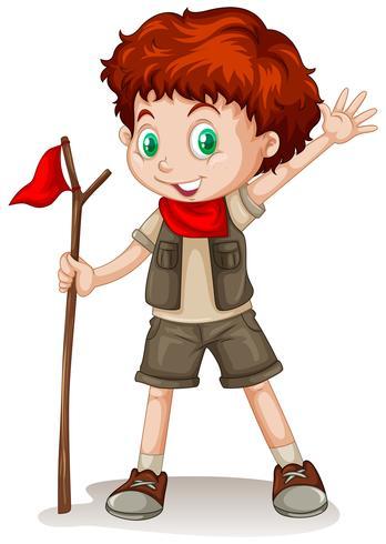 Um, haired vermelho, menino, desgastar, um, scout, equipamento