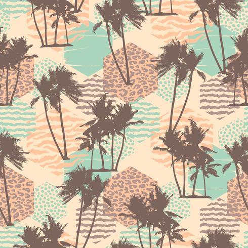 Modèle exotique sans couture avec palmiers tropicaux et fond géométrique.