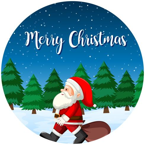 Merry Christmas santa card vector
