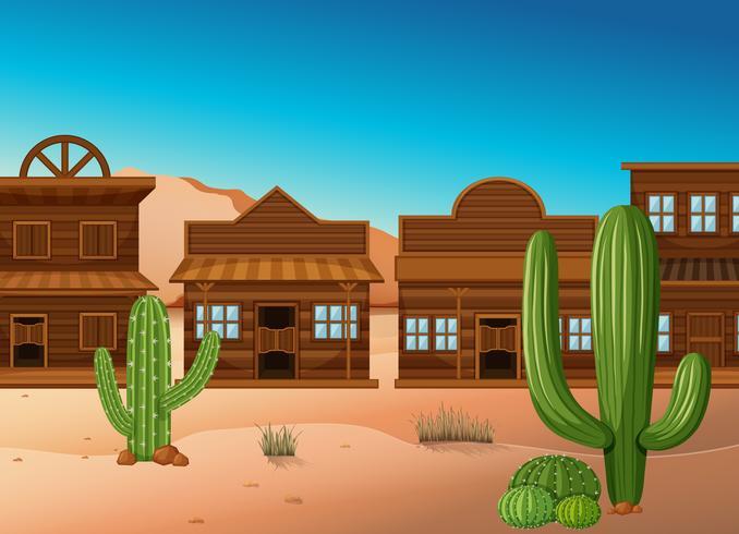 Escena del desierto con tiendas y cactus.