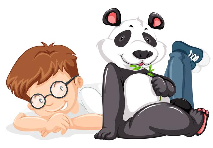 Um panda e um menino no fundo branco