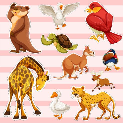 Klistermärke med vilda djur vektor
