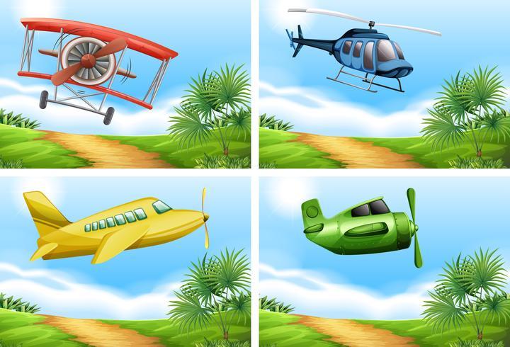 Szenen mit Flugzeugen am Himmel