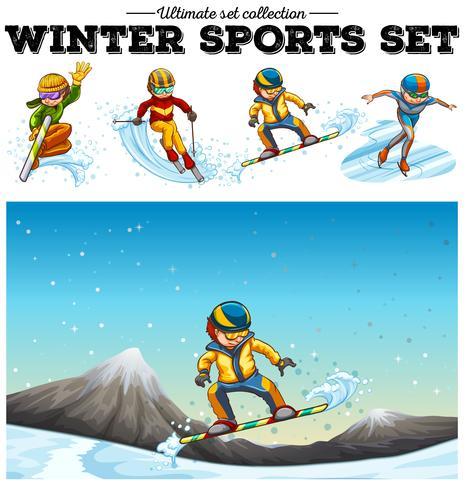 Pessoas jogando esportes de inverno vetor