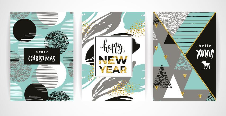 Conjunto de artísticos criativos cartões de feliz Natal e ano novo.