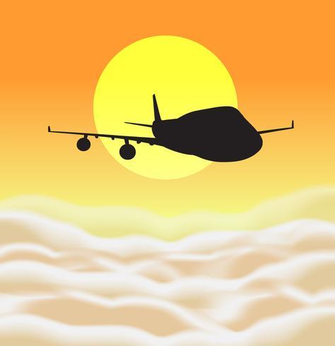 Bakgrundsscen med silhuettflygplan som flyger