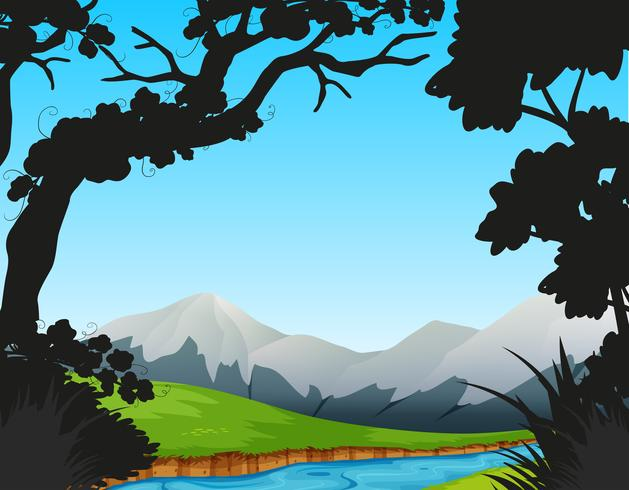 Forest scene with river and mountains - Download Free Vector Art, Stock Graphics & Images