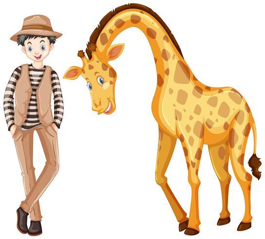 Tall man and cute giraffe