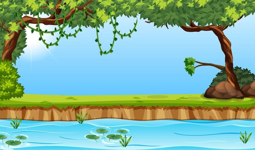 Beauiful río envrioment escena vector