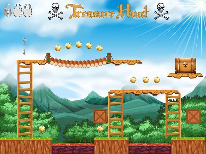 Um tema de pirata de jogo de caça ao tesouro