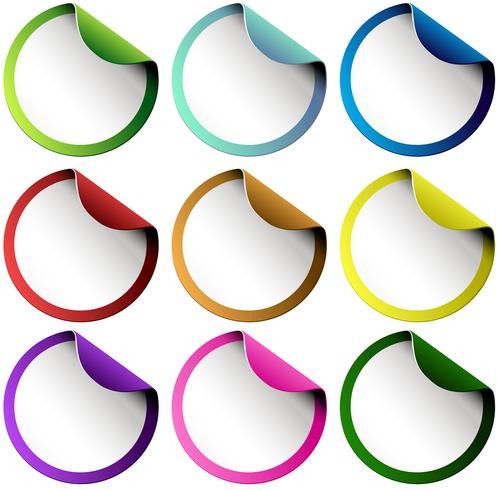 Set of colorful round stickers - Download Free Vectors ...