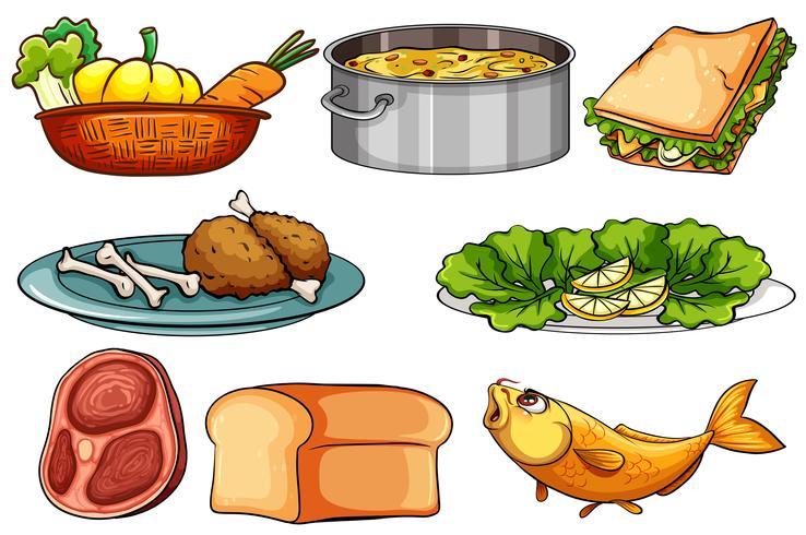 Diferentes tipos de comida e lanche