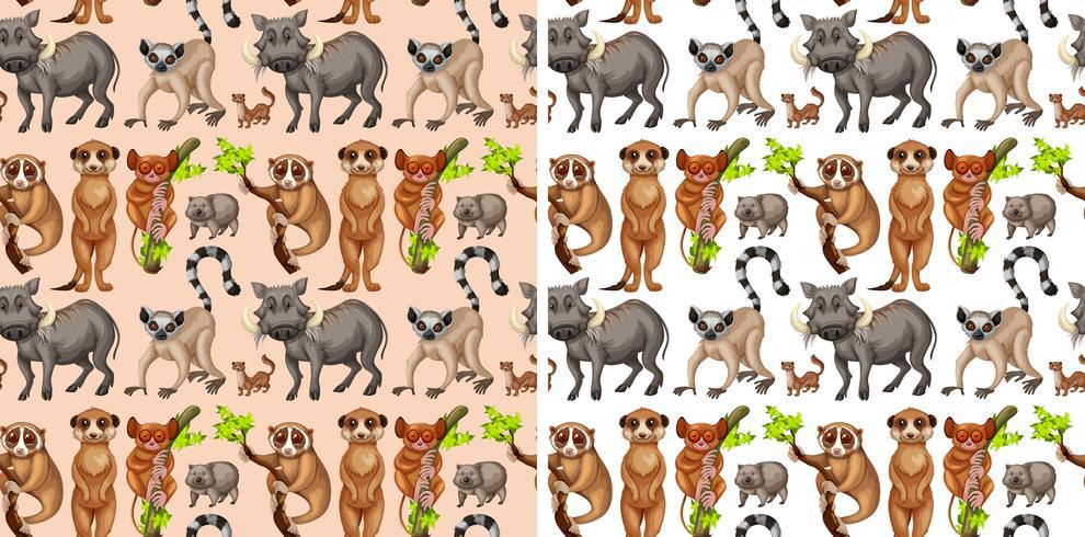 Seamless background with wild animals