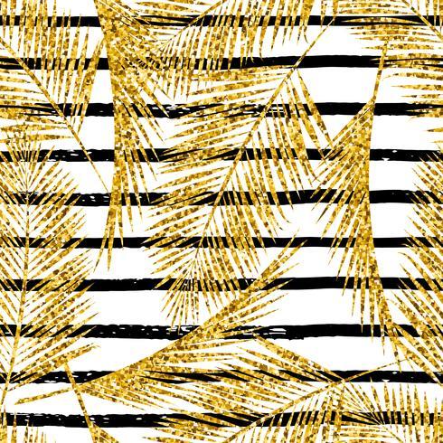 Modello esotico senza soluzione di continuità con sagome di foglie di palma. Trama glitter oro.