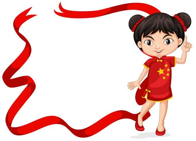 Modelo de quadro com a menina chinesa em traje vermelho