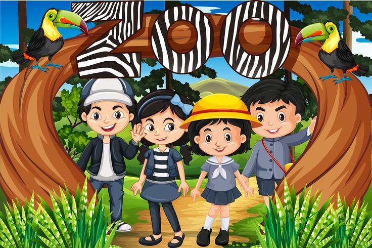 Crianças, ficar, sob, a, jardim zoológico, sinal