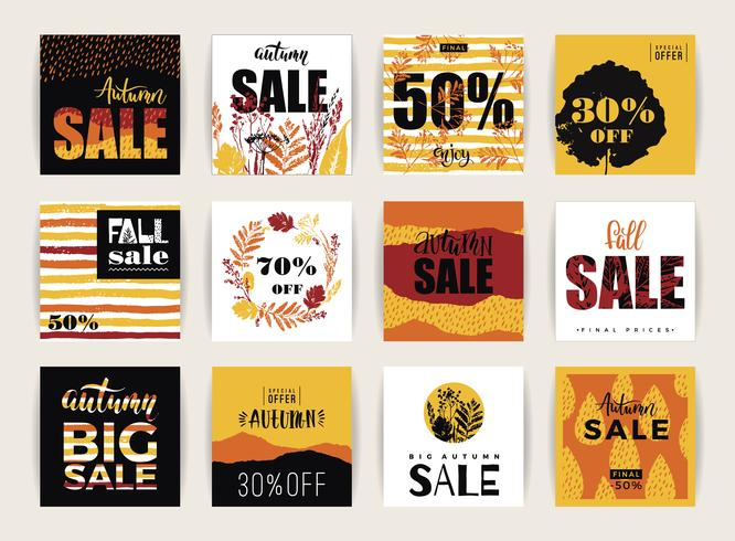 Conjunto de tarjetas de venta otoño creativo artístico.