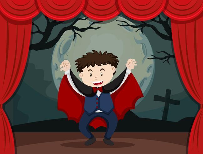 Stage teatrale con ragazzo in costume da vampiro