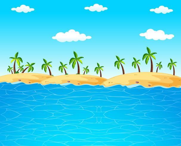 Cena de fundo com oceano azul e coqueiros