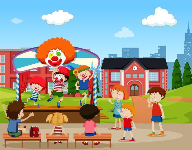 Clown scenen prestanda scen