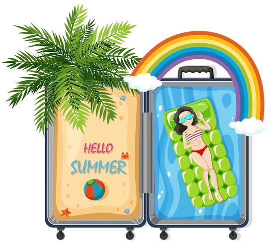 Olá Verão em mala