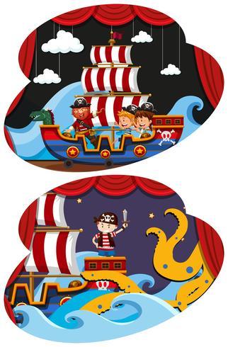 Pirata e crianças no palco