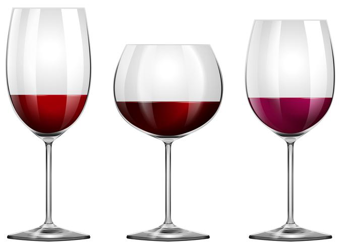 Três tamanhos de taças de vinho