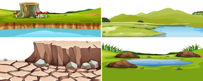 Um conjunto de paisagem natural vetor