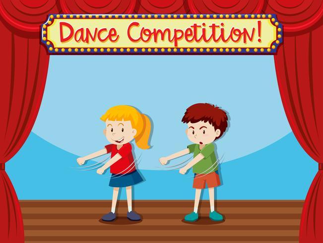 Dos niños bailando en el escenario