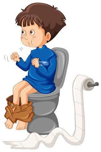 Junge geht zur Toilette
