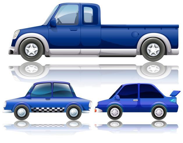 Blauwe auto's en vrachtwagen