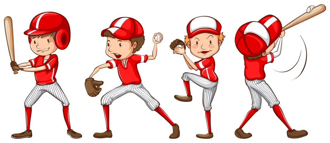 A sketch of the baseball players in red uniform